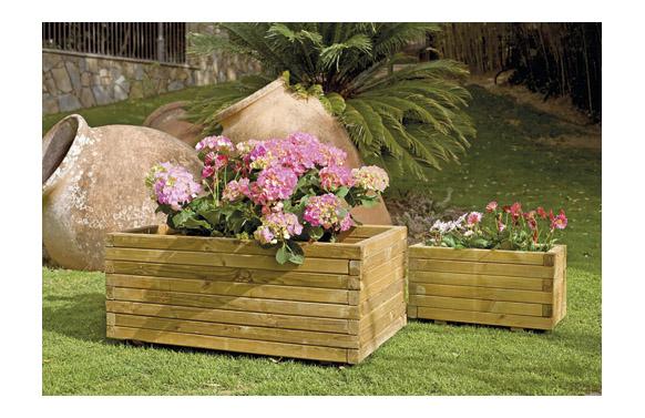 Jardinera madera rectangular gaia + geotextil 100x50x h40 marron oscuro