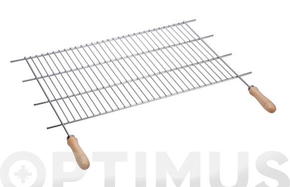Parrilla recortable zinc mango madera 70 x f40cm (corte 62,5-72,5 cm)