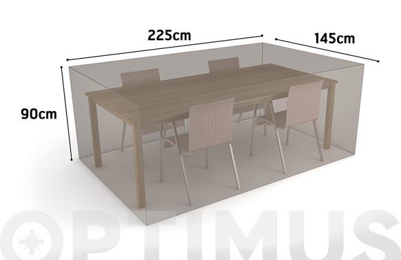 Funda mesa rectangular + 4 sillas vison 225 x 145 x h 90
