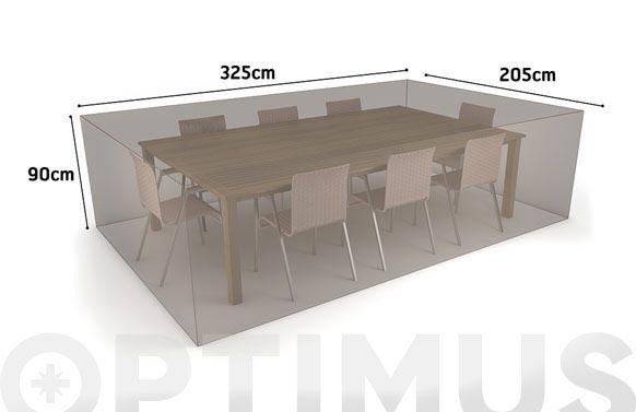 Funda mesa rectangular + 8 sillas vison 325 x 205 x h 90
