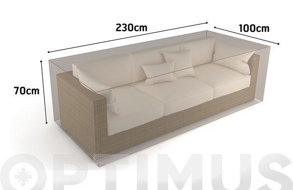 Funda sofa 3 plazas vison 230 x 100 x h 70