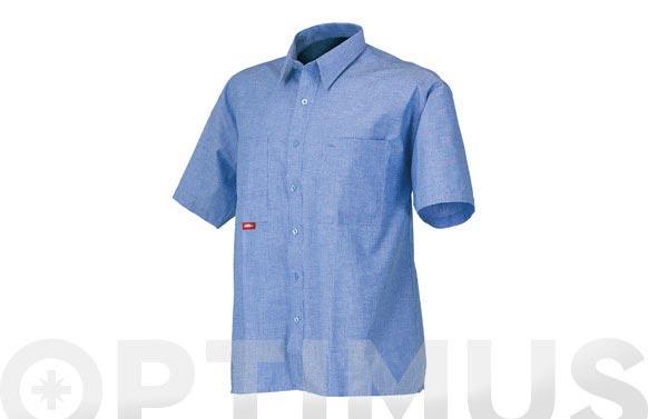 Camisa algodon manga corta azul t m