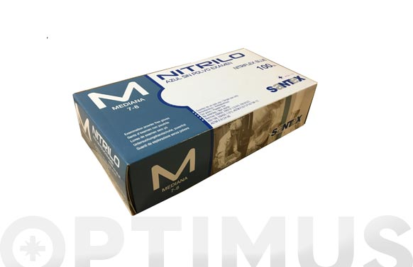 Guante desechable nitrilo sin polvo azul 100 uds t. mediana nitriflex