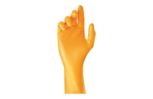 Guante desechable nitrilo grippaz naranja 50 uds t 7