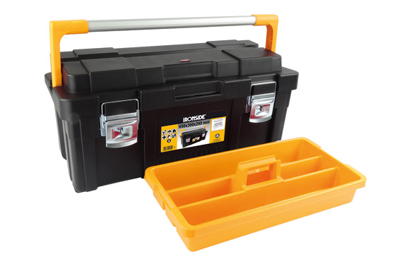 Caja herramientas abs negro profesional plus 1 bandeja 650 x 300 x 295 mm asa aluminio
