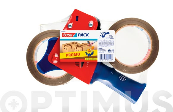 Cinta embalar polipropileno pack 2 rollos + precin 66 m x 50 mm marron
