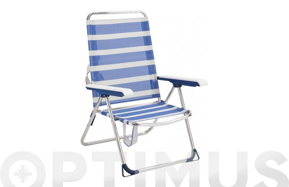 Sillon playa aluminio fibreline rayas azul/blanco bicomponente