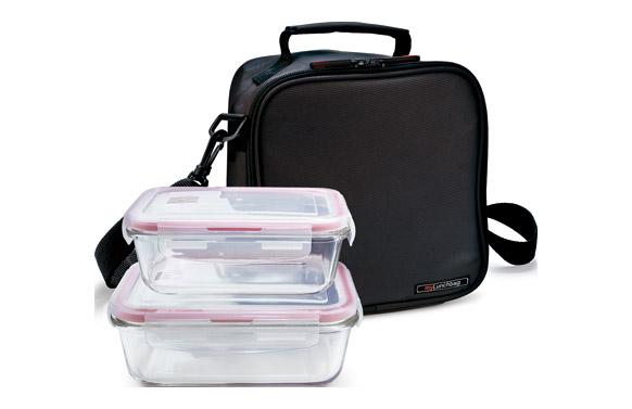 Bolsa porta alimentos basic negra+contenedores vidrio