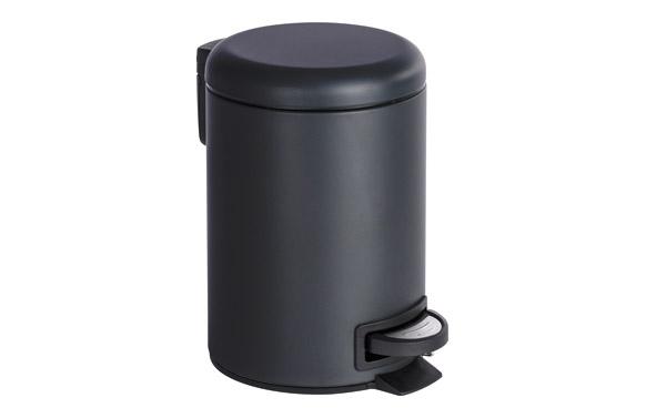 Cubo baño con pedal leman negro 3 l