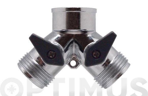 Derivacion zinc en  y  2 vias con llave de paso y conexion ¾