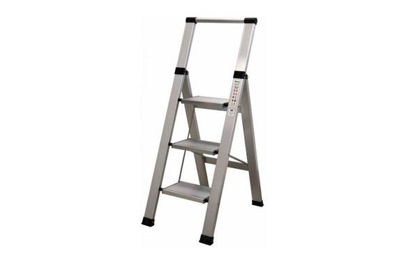 Escalera aluminio domestica peldaño super ancho 3 peldaños