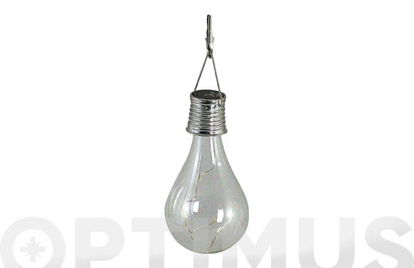 Lampara solar para colgar diseño bombilla 14x7cm