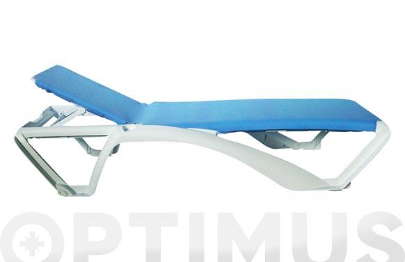 Tumbona acqua estructura blanca blanco-azul
