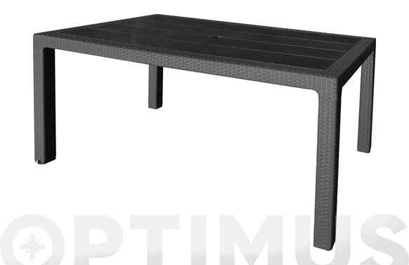 Mesa resina ratan elegance negro 150 x 90 cm