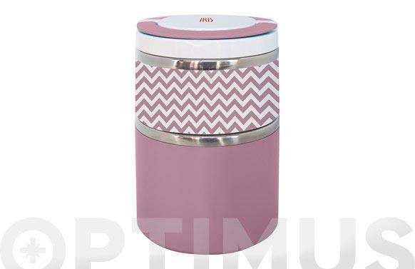 Termo solidos lunchbox doble rosa inox 0,9 l