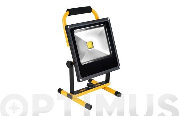 Foco proyector led 10 w recargable con soporte 700 lm luz fria ip65