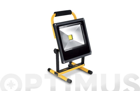 Foco proyector led 20 w recargable con soporte 1200 lm luz fria ip65