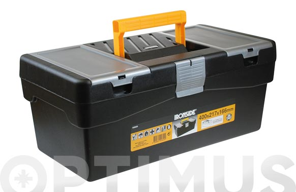 "Caja herramientas polipropileno negro ""s"" 400 x 217 x 166 mm"