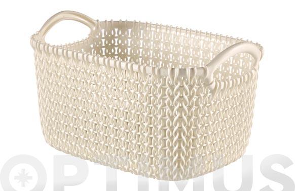 Cesta rectangular knit xs blanco oasis 3 l
