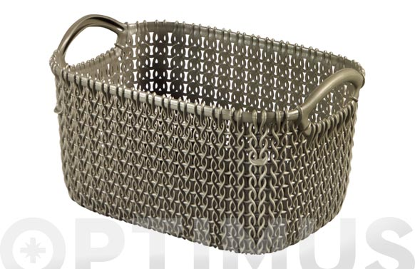 Cesta rectangular knit xs marron topo 3 l