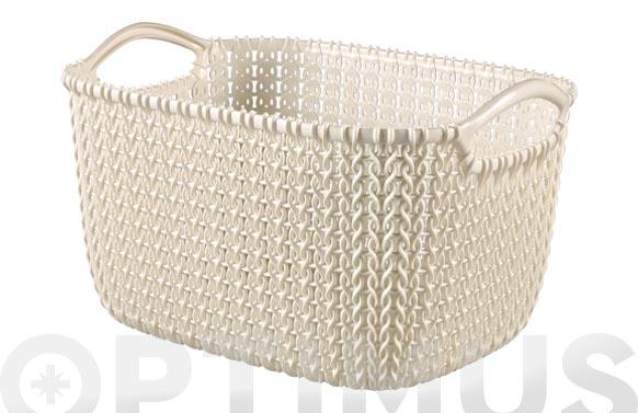 Cesta rectangular knit s blanco oasis 8 l