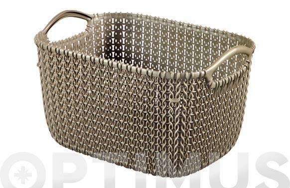 Cesta rectangular knit s marron 8 l