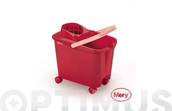 Cubo con escurridor 14 l ruedas rojo
