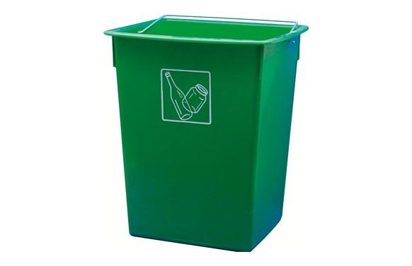 Cubeta reciclar 26l con asa verde