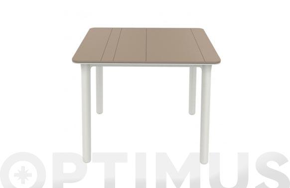 Mesa cuadrada noa arena/blanco 90 x 90 cm
