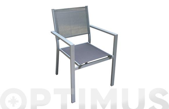 Sillon aluminio textilene gris silver