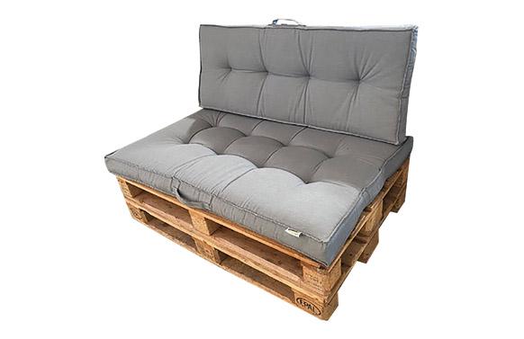 Cojin respaldo para palet gris 120 x47 x 7 cm