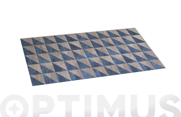 Alfombra vinilica croma 50x110 cm wood geom blue
