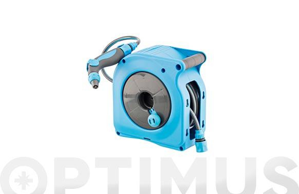 Enrollador mini manual azul con 10 mt manguera ø 9 mm
