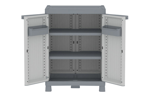 Armario resina medio 2 estantes wave gris 97,9 x 70 x 43,8 cm