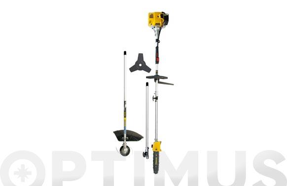 Desbrozadora gasolina 32,6 cc multiuso con accesorios y prolongador