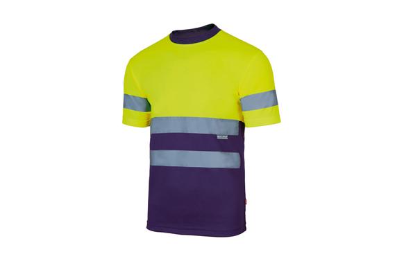 Camiseta tecnica alta visibilidad bicolor t m amarillo / marino