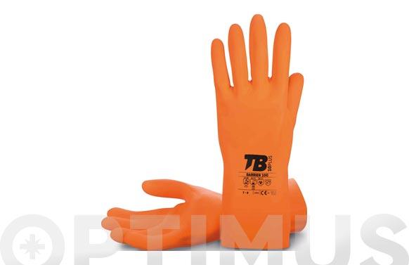 Guante latex naranja flocado t 7 longitud: 30 cm, grosor: 1 mm.
