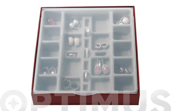 Organizador joyas compartimentos pequeños 18,5 x 21,5 x 3,5 cm
