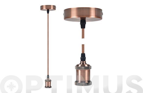 Lampara colgante ø9,84 x 4,4 cm + 88cm de cable bronce e27 60w