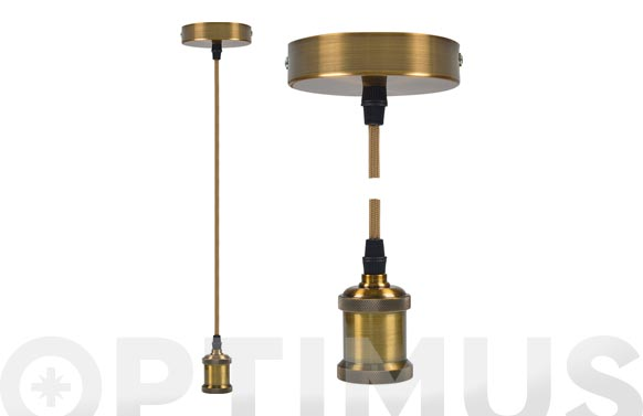 Lampara colgante ø9,84 x 4,4 cm + 88cm de cable oro viejo e27 60w