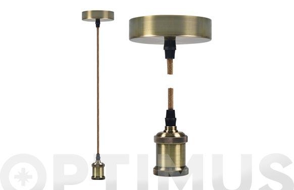 Lampara colgante ø9,84 x 4,4 cm + 88cm de cable oro nuevo e27 60w