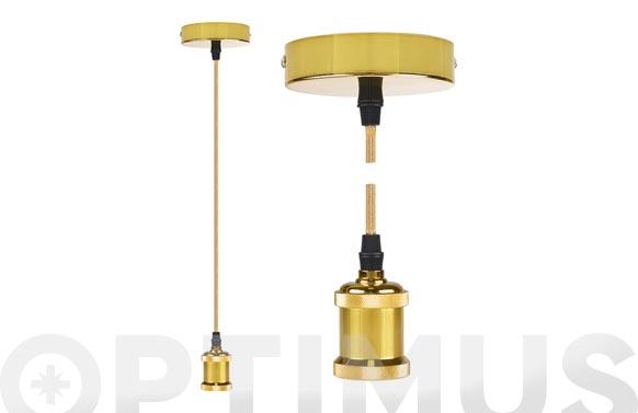 Lampara colgante ø9,84 x 4,4 cm + 88cm de cable oro brillante e27 60w