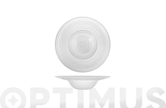 Plato vidrio grabado transparente pasta-20 cm