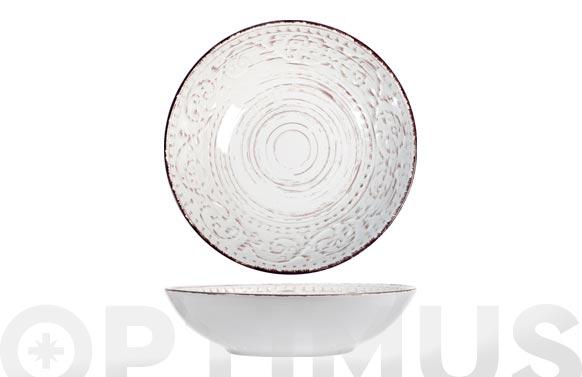 Plato stoneware courtyard blanco hondo-20 cm