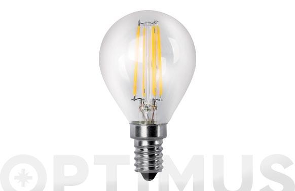 Lampara led filamento esferica flama clara 4w e14 luz calida