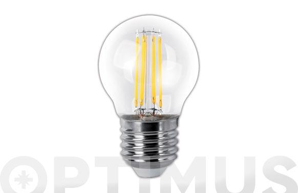 Lampara led filamento esferica flama clara 4w e27 luz calida