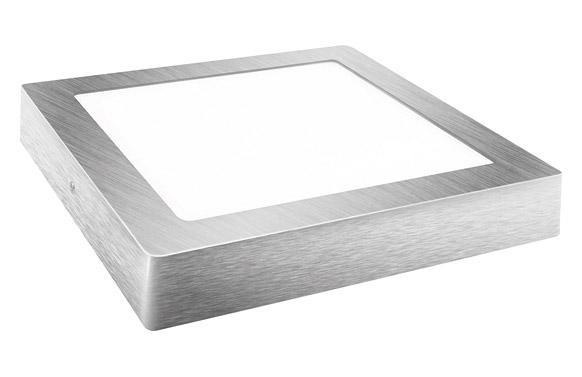 Downlight led superficie cuadrado plata 23 cm 18 1800 lm fria (6000k)