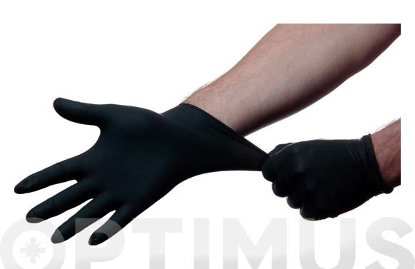 Guante desechable nitrilo negro sin polvo 100 uds t m