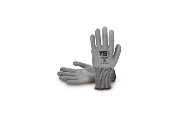 Guante fibra hppe + fibra de vidrio sin costura t 7 poliuretano gris en palma galga 13