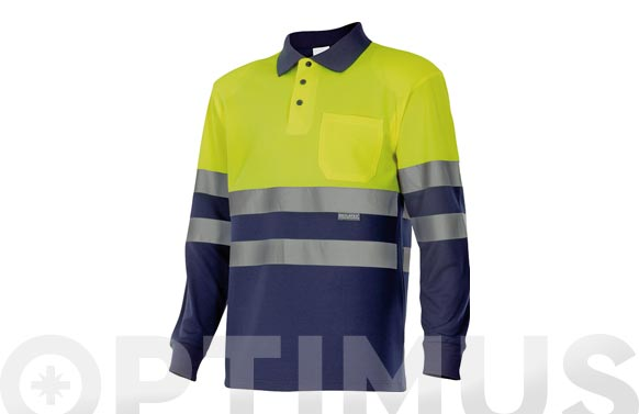 Polo alta visibilidad bicolor manga larga t xxl amarillo / marino